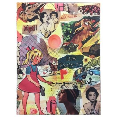 Tableau Petite fille vintage rose Leçons de choses