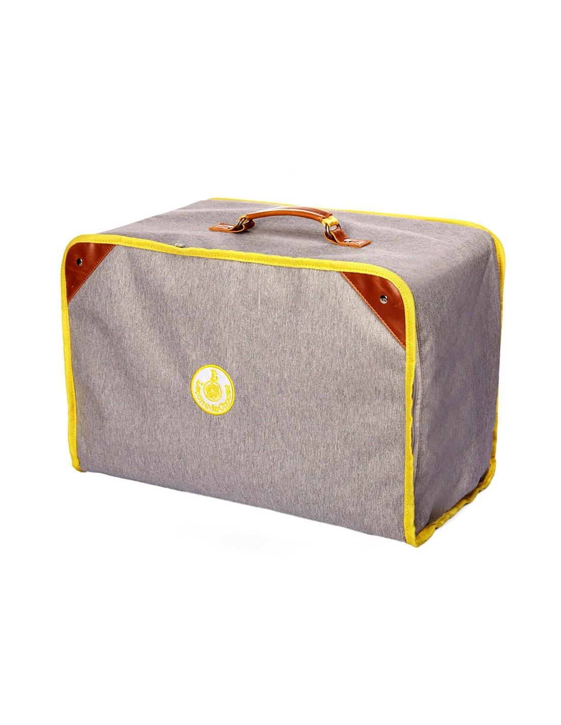 grande malle caisse de rangement gris jaune le ons de choses. Black Bedroom Furniture Sets. Home Design Ideas