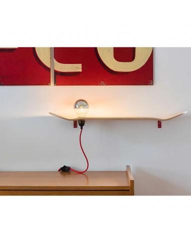 Etagère lampe skate board bois