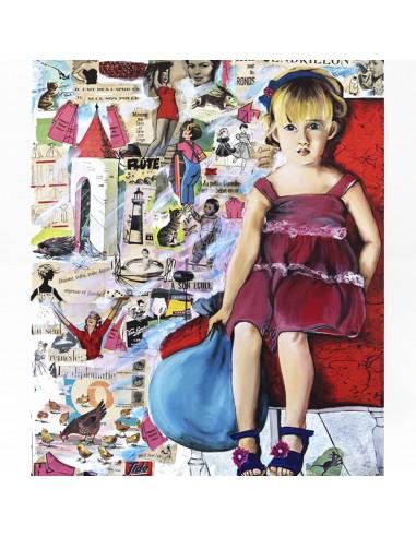 Tableau Petite fille au ballon Leçons de choses