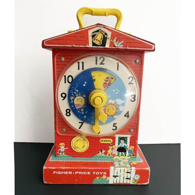 FISCHER PRICE MUSIC BOX TEACHING CLOCK 998 MADE IN USA